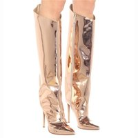 Women's High Boots Gold Silver Pointed Toe Knee-high Boots for Woman Sexy High Heels Party Shoes Ladies Stiletto Boots