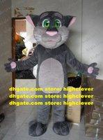 Agradable gris tom gato gatito mascota traje de dibujos animados personaje de dibujos animados mascota adulto rosa nariz palmas malas expresión zz742 gratis envío