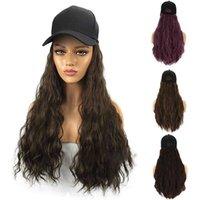 Mulheres encantador longo onda encaracolado wig peruca extensão de cabelo com chapéu de tampão pico baseballcap para mulheres protegidas tela para face q0703