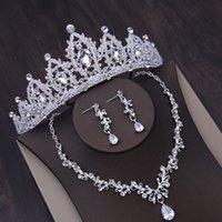 Vendita Abito da sposa Vendita Collana corona di matrimonio di fascia alta collana e orecchini set a tre pezzi, crystal bianco strass intarsiato, regali di compleanno dei gioielli di primo piano