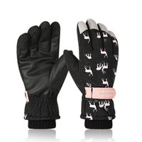 Ski Gloves Winter Waterproof For Women Cycling Climbing Windproof Snow Non-slip Tighten Cuffs Coral Fleece Outdoor