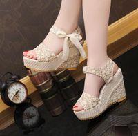 2020 New Women's Shoes Sandals Korean Fashion Fish Mouth Muffin Heel High Slope Designers U1VK