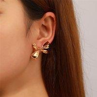 Korean Metal Bow Butterfly Stud Earrings Geometric Irregular Business Cross Ear Drop Women Dinner Party Gift Dress Earring Jewelry Accessories Wholesale