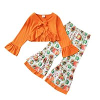 Girls Outfits Kids Clothing Sets Baby Clothes Children Suits Autumn Winter Halloween Pumpkin Long Sleeve Top Flared Pants 2Pcs B8486