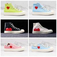 Новый Play Chuck 70 Дизайнерская Обувь Выделенные Весенние Цвета Розовые Зеленые Синие Женские Мужчины Холст Совместные Глаза Высокие низкие Кроссовки