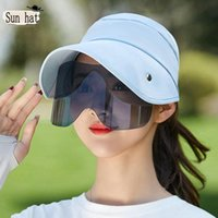 Wide Brim Hats Sun Women 2021 Spring Summer Empty Top Hat With Sunglasses Protection Visors Ladies And Caps