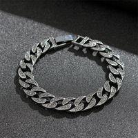 Link, Chain Miami Curb Cuban Bracelet Punk Black Crystal Thick Men Trendy Bangle Hip Hop Jewelry 2021