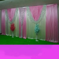 10ftx20ft Ice silk elegant wedding backdrop curtain with silver sequin Swag Wedding Party Stage Celebration Background props