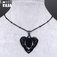 Pendant Necklaces AFAWA 2021 Gothic Stainless Steel Heart Necklace For Women Black Color Statement Neckless Jewelry Collier Femme N4107S03