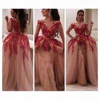 2019 Arabic Style Ball Gown Abiti da sera manica corta V Collo a V Collo Rosso Appliques Pizzo Paillettes Nude Tulle Donne Formale Party Prom Gowns
