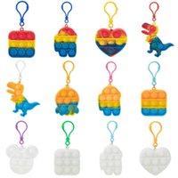 Zappeln Spielzeug sein Schlüsselanhänger Favor Designer Dinosaurier Auto Square Push Poo Bubble Poppers Cartoon Deimpa Regenbogen Spielzeug Schlüsselanhänger Stresseinlagerung