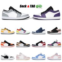 Basketball Shoes 1 1s Low Top Quality Jumpman Mens Womens Smoke Grey Court Purple Laser Orange USA Outdoor Trainers Sports Sneakers 36-45