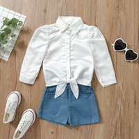 Clothing Sets 2021 Arrival Baby Girls Outfits Toddlers Solid Color Tie-up Long Sleeve Lapel Shirts + Denim Shorts Infants Summer