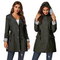 Women's Trench Coats Yvlvol 2021 Hooded Waterproof Jacket Long Ladies Windbreaker Rain Women Spring Autumn Coat Outdoor Streetwear