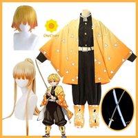 Agatsuma Zenitsu Cosplay Costume Anime Demon Slayer Yellow Kimetsu No Yaiba 2 Style Wig Cloak Belt Sword Halloween Party Uniform