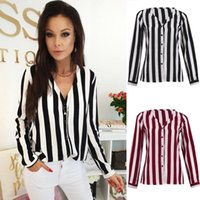 Womens Shirts Long Sleeve V Neck Striped Shirt Tops Ladies Casual Loose Blouse Fashion Women Clothes Summer Women's Blouses &
