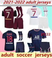 2021/2022 Jerseys de fútbol Kit de adultos 20/21 MBAPPE Home Alow Over 4th Cavani Maillot de Foot París Camisa adulta Kit de hombres.
