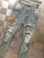 Novo design inverno homens jeans de alta qualidade designer furo cor adesivo emenda arrancado rua alta destruído jeans jeans US tamanho w28-w40