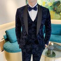 2022 new plant flower fashion suit suit men's business formal wear groom wedding dress three-piece British style