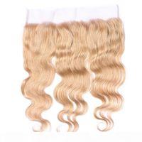 # 27 Медовые блондинки перуанские человеческие волосы 13x4 кружевной фронтальные фронталы тела клубника блондинка перуанские волосы полное лобное кружевное закрытие обесцвеченные узлы