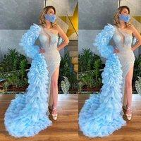 Sky Blue Mermaid Prom Dresses Tiered Skirts Beading Evening Gowns Side Split Long Sleeve Formal Party Dress Sequined vestido de novia