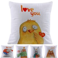 Cushion Decorative Pillow Cartoon Cute Animals Love You Soft Short Plush Case Home Nursery Kids Room Sofa Decorative Cushion Cover Birthday