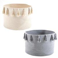 Laundry Bags Woven Basket Toy Storage Box Cotton Cloth Tassel Hamper Home Organizer Sundries