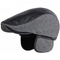 Berets HT3745 Men Winter Hat Leather Ivy Sboy Flat Cap Male Plus Size Beret Vintage Dad Hats With Ear Flaps