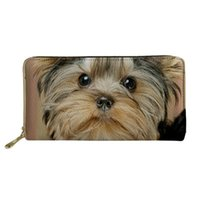 Wallets Coloranimal Cute Yorkshire Terrier Long Wallet Women PU Leather Dog Bag Lady Clutch Phone Case Zipper Card Holder Female Purse