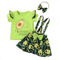 الرضع أطفال طفلة تنورة ثلاثة قطعة تناسب الأفوكادو الطازجة طباعة قصيرة الأكمام تي شيرت القوس الحمالة مع العصابة 1