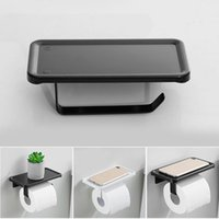 Toilet Paper Holders Holder With Shelf Tissue For Bathroom Roll Wall Mount Punch Free R4T1