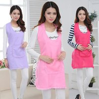 Lace Home Cooking Kitchen Women Apron With Pockets Pink Fashion Tea Coffee Shop Waiter Cotton Aprons Dress Restaurant Cleaning