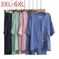 Damas verano más tamaño mujeres algodón bordado floral manga corta camiseta y pantalones conjuntos de dos piezas 3xl 4xl 5xl 6xl mujeres