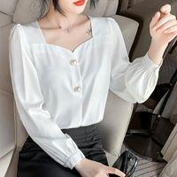 Women's Blouses & Shirts Spring Fall Womens Shirt Summer Square Collar Women Long Sleeve Blusas Elegantes Female Office Button White Ladies