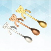 Spoons 3PCS Stainless Steel Coffee Hanging Spoon Cartoon Bear Cup Tea Stirring Cutlery For Kitchen Use Silver