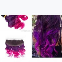 Ear To Ear Full Lace Frontal With Body Wave Virgin Hair Weaves Ombre 1B Purple Pink Hair Bundles With Lace Frontal Closure