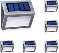 6 LED Solar Passo Lâmpadas Ao Ar Livre Iluminação Decorativa Luzes Frio Branco Auto On / Off Aço Inoxidável Para Cerca Pátio Caminho Jardim à prova de intempéries