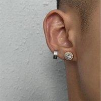 2021 New Trendy Brand Hip Hop Stud Full Diamond Zircon Round Earrings Street Fashion Wild Ear Jewelry Accessories