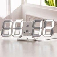 Gabinete Luz 3D LED grande LED Digital Reloj de pared Fecha Tiempo Celsius Nightlight Mostrar mesa Escritorio Relojes Alarma Clocky para la sala de estar de casa Crestech