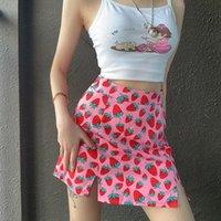 Skirts 2021 Sweet Women Girls Strawberry Print Summer A-Line Split Hight Waist Skirt Slim Fit Mini Outfits Party Clubwear