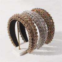 Bandes de cheveux de luxe en cristal Femme Accessoires pour cheveux Bandeau baroque bandeau de tête coloré bande de tête de strass princesse 614 T2