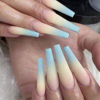 24pcs Blue Yellow Ombre Nails French Ballerina Long Coffin Matte Fake Fingernails Tryck på Nail False Tips Manikyr för kvinnor och tjejer
