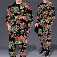 Men's Tracksuits Spring And Autumn Suit 2021 Printed Round Neck Large Size Trend Long-sleeved T-shirt Trousers Casual Comfortable