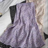 Floral Purple Print Ruffle Pleated Womens Skirt Long Summer Korean Style Streetwear Drawstring Elastic Waist Midi