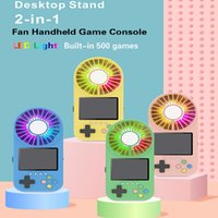 Fan Handheld Game Console Can Store 500 Classic Games With LED Lights Desktop Stand Third Gear Wind Retro Portable Players