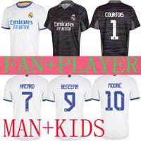 REAL MADRID soccer jerseys 21 22 BENZEMA HAZARD cup league SERGIO RAMOS ISCO 2021 2022 camiseta goalkeeper COURTOIS football shirts men kids