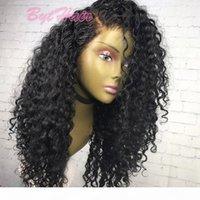 Peluca de pelo humano de encaje completo sin glanas rizado sin procesar virgen brasileño peluca rizada profunda para mujer negra cabello natural con pelos de bebé