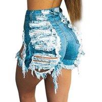 Pantaloncini da donna a luce blu strappato taglio denim con nappa donne streetwear vita alta vita cavità estate sexy foro jeans Plus size