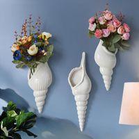 Современная белая керамическая морская раковина раковины цветок ваза стена висит дома декор гостиной фон украшенные вазы