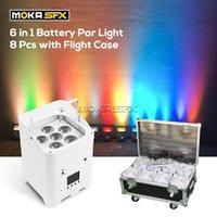 8pcs Battery Par Light 6x18W LED Efectos con caja de vuelo Upenta inalámbrica High Bright DJ Lights DMX Control de la aplicación para la boda de la fiesta de discoteca